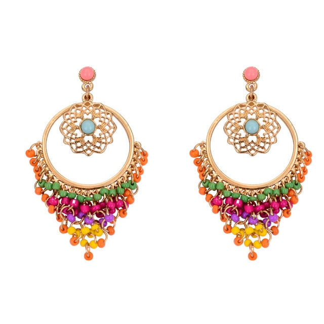 Multi Color Crystal Beads Golden Earrings Droplets