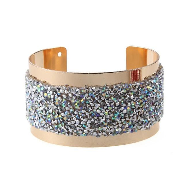 Office Lady Crystal Golden wide cuff bangles bracelet - 3 Colors