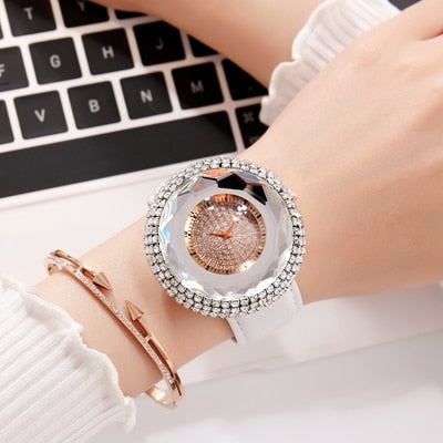 Big Dial Women Watch White Drill Crystal Stones Leather Strap - 4 Colors