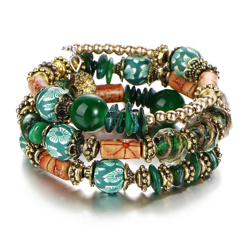 Multi layer Green Golden Charm Bracelets for Women