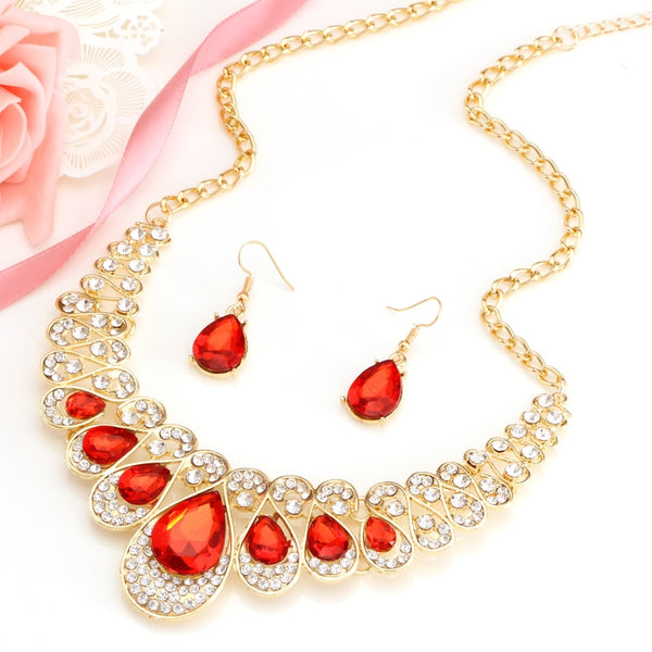 Hot African Necklace Jewelry set with Earrings made with Crystal Stones
