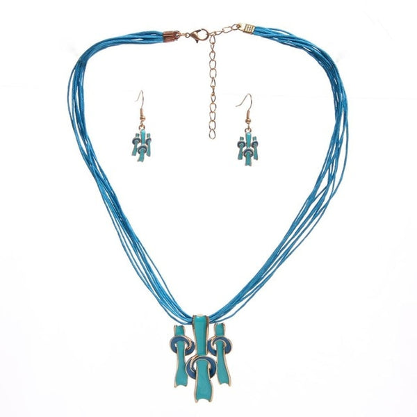 Vintage Style Necklace Earring Set Multilayer Rope Chain