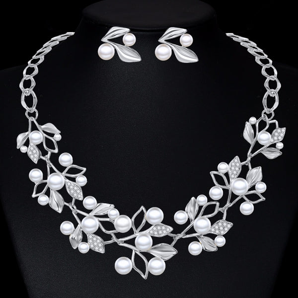 Pearl Jewelry Sets Leaf Crystal Flower Silver Gold Color Necklaces Earrings Set