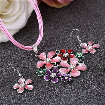 6 Colors Flower Design Pendant Necklace Earrings Set