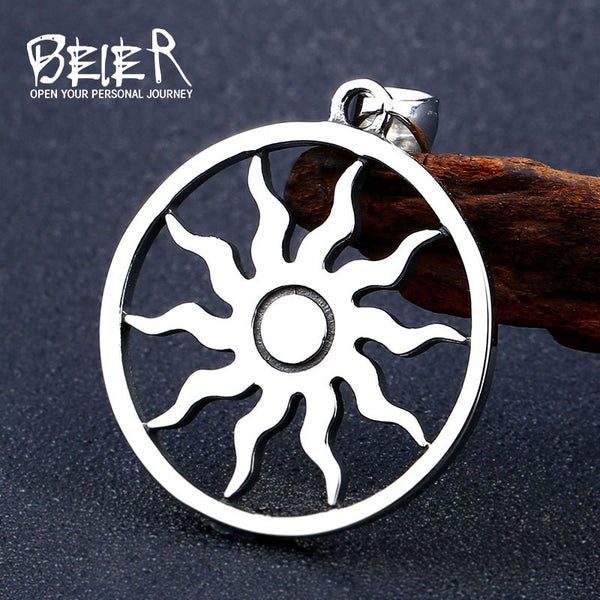 Stainless Steel Sun Amulet Symbol Vikings Pendant in Black Leather Rope Chain Necklace