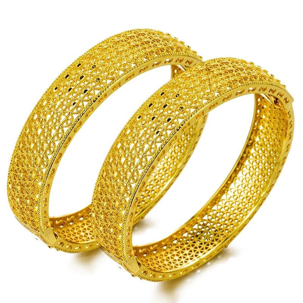 2 Pcs. Ethiopian Design Bangle Gold Plated Copper Made