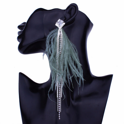 Long Feather Earring rhinestone drop Earring dangles - 4 colors