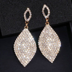 Teardrop Shape Rhinestone Crystal Earrings Dangles - golden and silver color