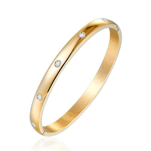 Classic Gold Plated Stainless Steel Bangle Bracelet with Cubic Zircon Stones - 3 Colors