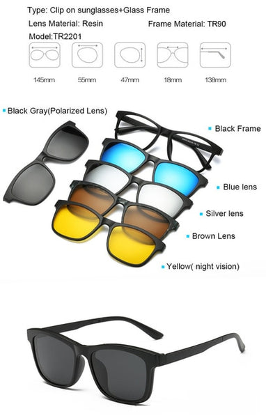 Clip On Sunglasses for Men Magnetic Clip Sunglasses with 5 Color Lens
