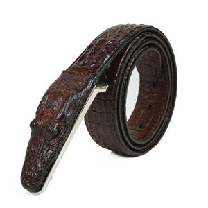 Men's Luxury Genuine Leather Belt with Crocodile Face Alloy Buckle