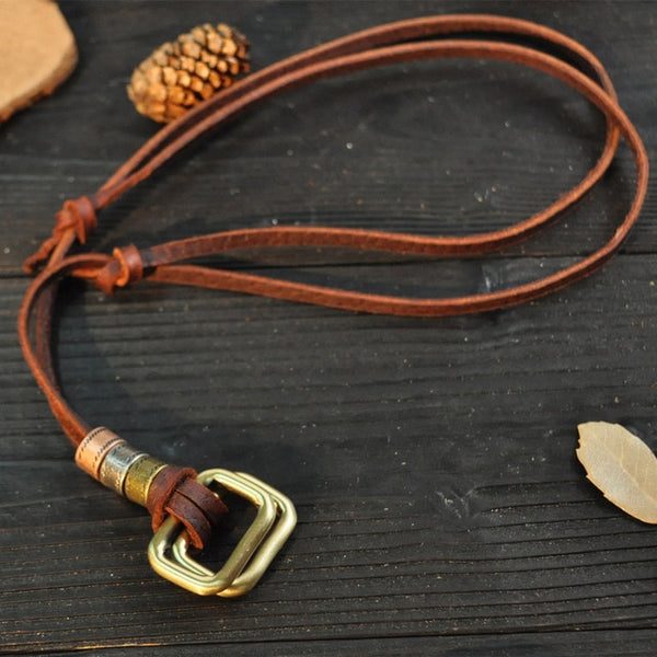 Genuine Leather with Metal Shapes Men Necklaces Pendant - 12 Designs
