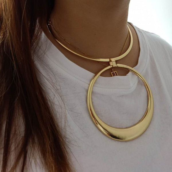 Golden Round Circle Choker Necklace Earrings Set