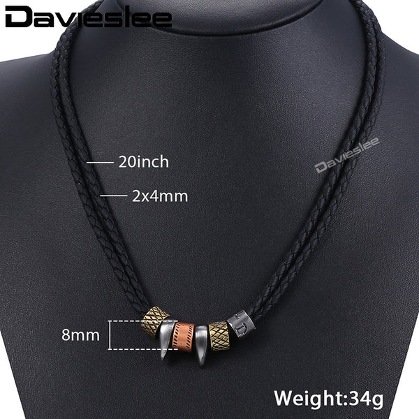 Men Necklace Metal Surfer Leather Rope Chain