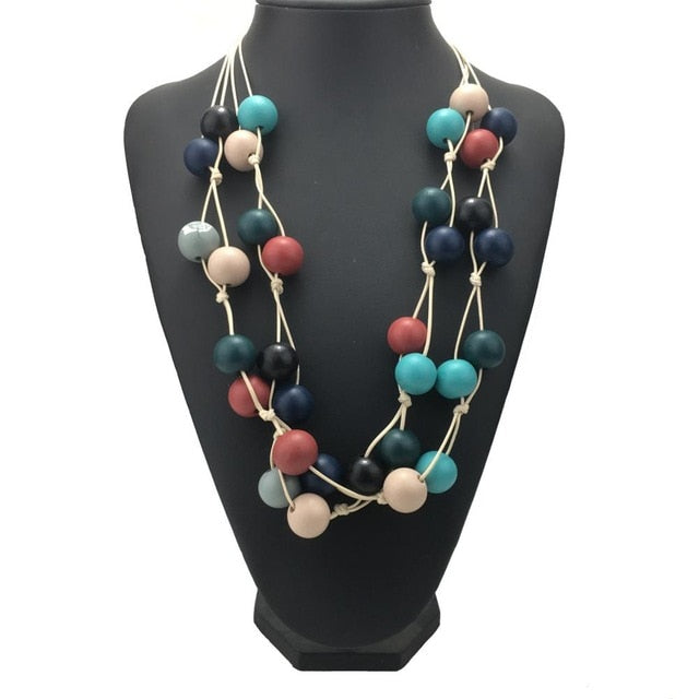Multilayer Style Necklace Handmade Wood Beads Choker