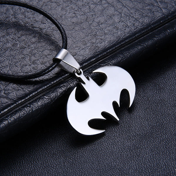 Men Batman Locket Pendant Stainless Steel with leather Chain