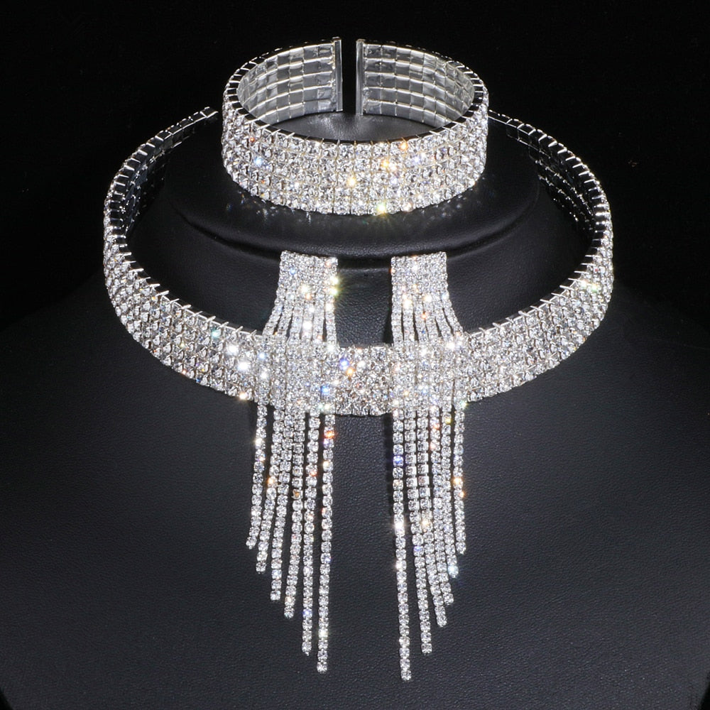 Elegant Silver Color Tassel Crystal Jewelry Sets African Rhinestone