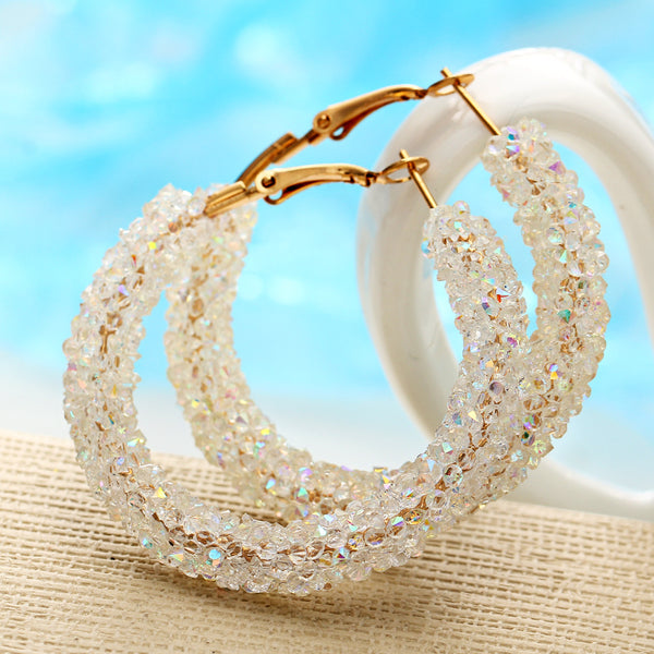 Hula Loop Stud Earrings Shiny Rhinestone embedded - 3 Colors