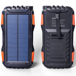 Solar Power Bank 25000mah IP67 Waterproof Power Bank Solar Mobile Phone Charger with LED Lighting