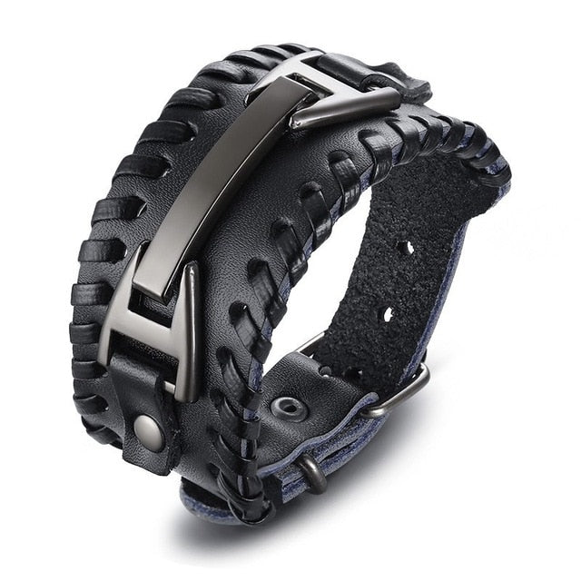 Men Jewelry Wide Leather Braided Rope Alloy Cuff Men Wristband