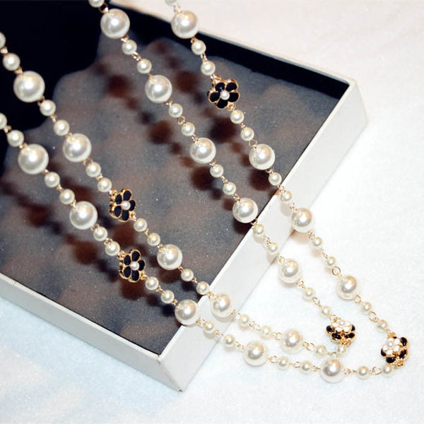 Delicate Pearls Crystal Flowers Multilayer Chains Necklace Night Club Party Wear