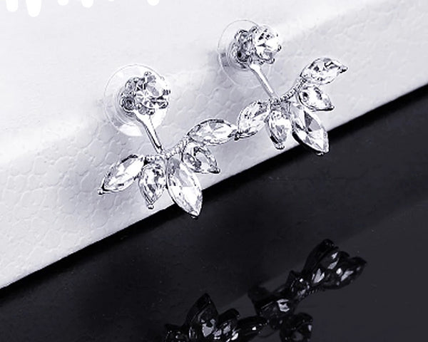 Crystals Stud Earrings Double Sided Earrings - 2 Colors