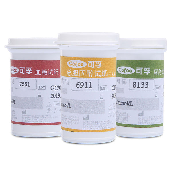 Test Strips for Cofoe 3 in 1 Tester Meter Uric Acid, Cholesterol and Blood Glucose