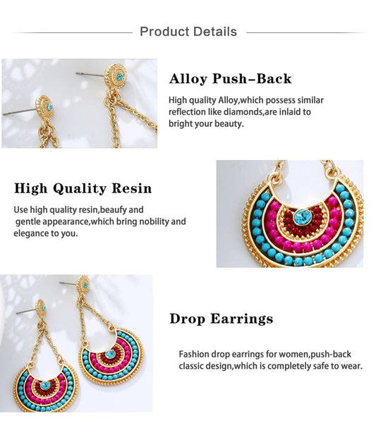 Multicolor Resin Beads Long Vintage Style Dangle  Earrings - 3 Colors