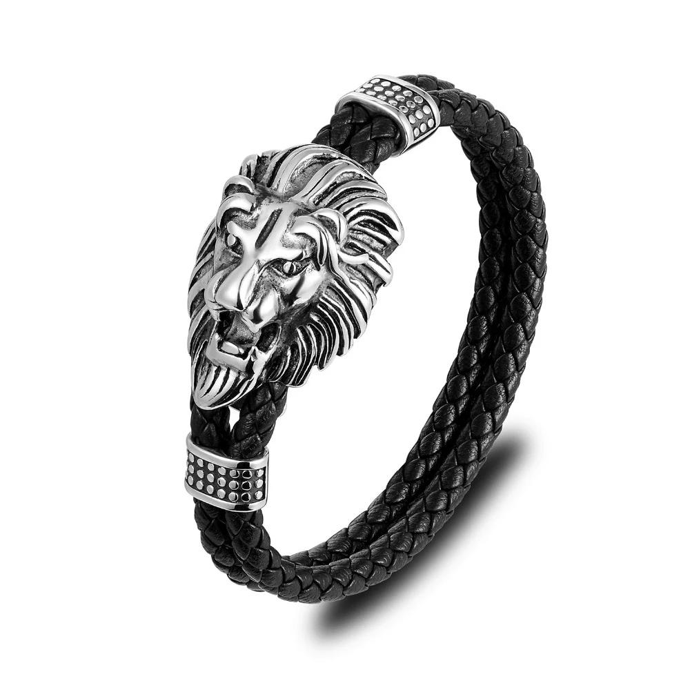 Men Bracelet Stainless Steel Loin Face Pendent with Leather Braided Rope Wristband