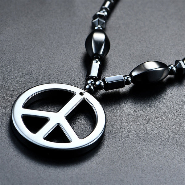 Men Necklace Black Metal Peace Symbol Pendant with Metal Cubic Black Chain