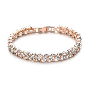 Crystal Bracelets Luxurious Rose Gold and Silver Color Bracelet