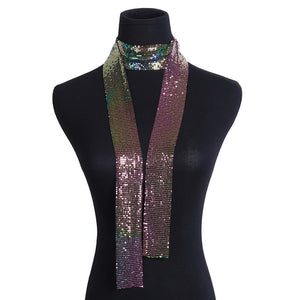 Exclusive Punk Style Sequins Pendant Long Choker Necklace