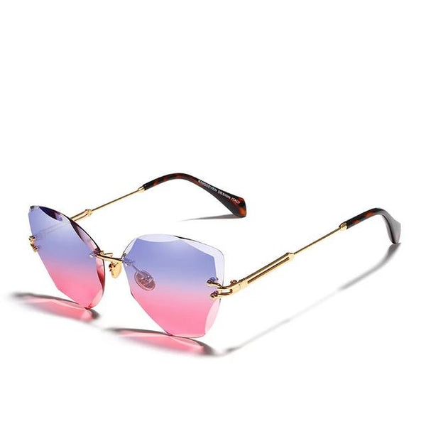 Diamond Cut Lady Sunglasses Rimless Designer Women Sunglasses 5 Colors