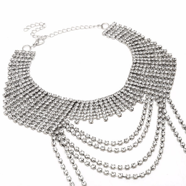 Multilayer Luxury Shiny Long Chain Rhinestone Necklace - Night Club Party Wear