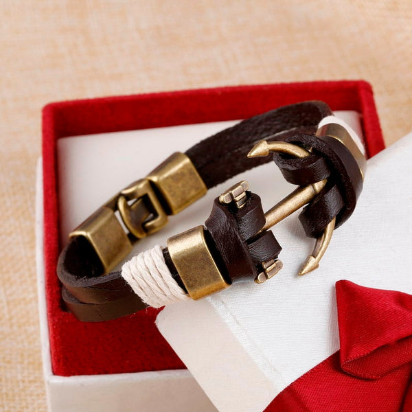 Men Bracelet Vintage Style Genuine Leather and Brass Made Anchor 5 Designs
