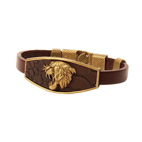 Designer Men Bracelet Bronze Lion Leather Bracelet Men Wristband