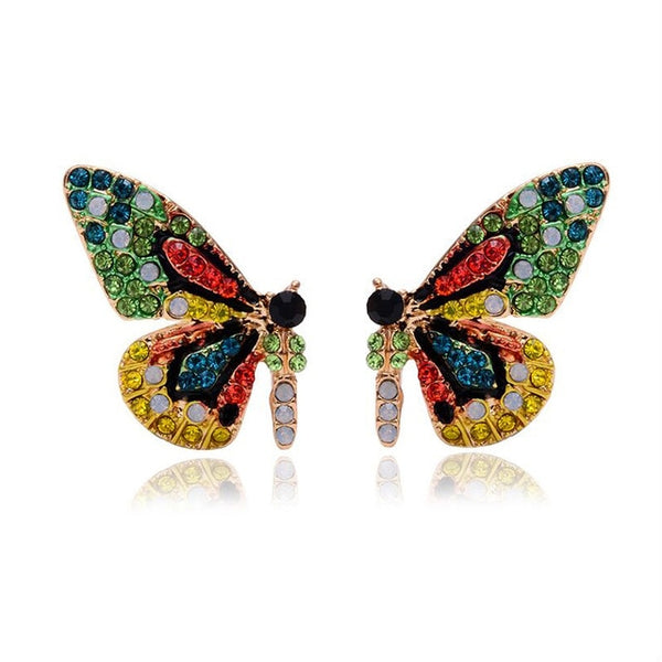 Exclusive Butterfly Wing Design Colorful Crystals Earring Studs