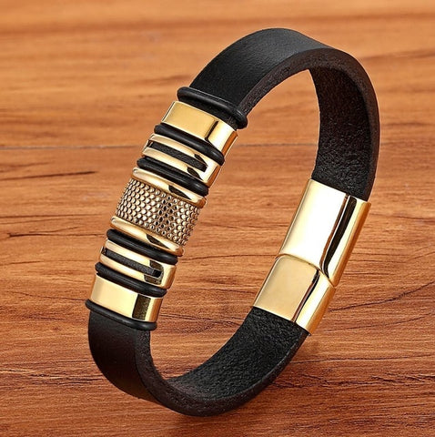 Designer Men Bracelet Golden Geometric Design with Genuine Leather Stainless Steel Easy Buckle Hook