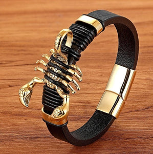 Designer Men Bracelet Luxury Golden Scorpion with Genuine Leather Stainless Steel Easy Buckle Hook