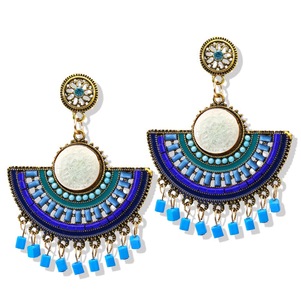 Blue Beads Earrings Dangle Drop Earrings
