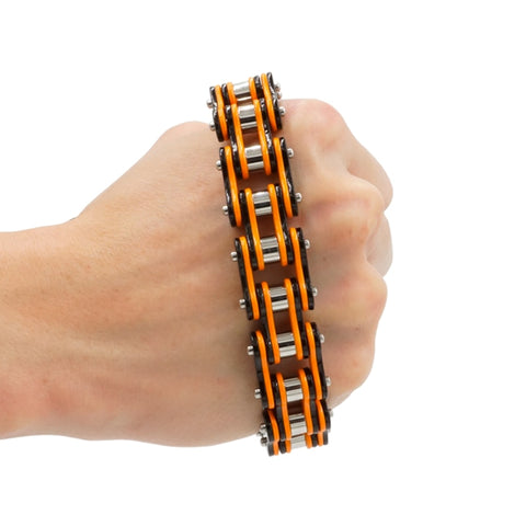 Men Bracelet Black Orange Bike Chain Style Stainless Steel Made Biker Men Bracelet