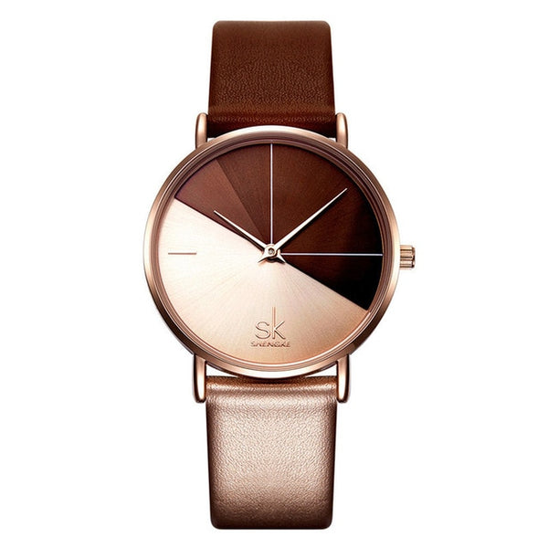 Luxury Dual Color Style Leather Strap Women Watch - 2 Colors