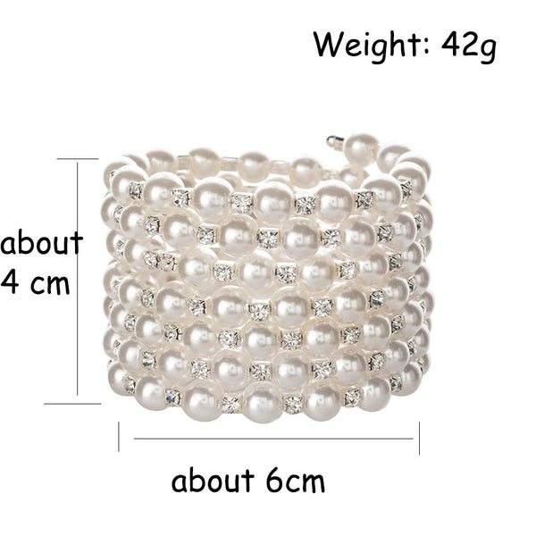 Adjustable Wide Multilayer Pearl and Crystal Stone Bracelet - 2 colors