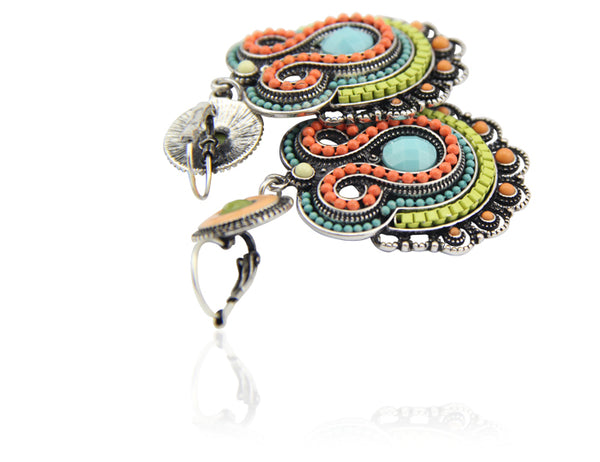 Ethnic Style Multicolor Enamel Beads Big Drop Earrings Jewelry