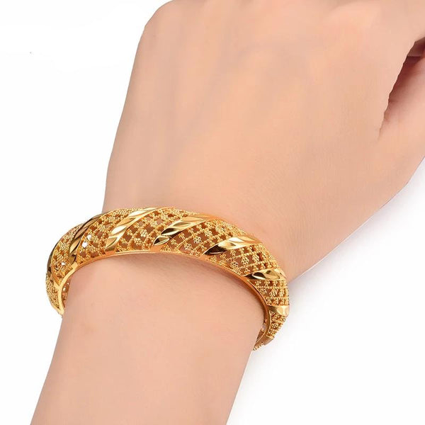Dubai Style Gold Plated Copper Made 4Pce. Kada Set All Size Adjustable