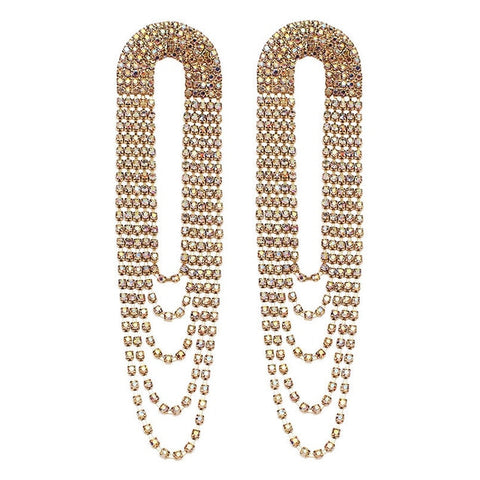 Exclusive Long Dangle Earrings Shiny Rhinestone Tassel Earrings