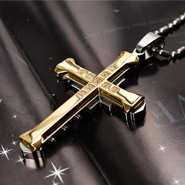 Men Crystal and Stainless Steel Made Cross Pendant Necklace - 4 Colors