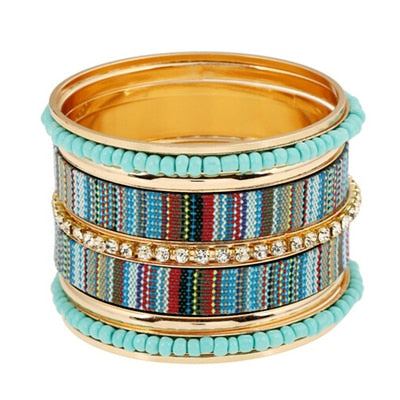 Multi layer Bracelet Bangles sets Simulated Pearl embedded - 8 Designs