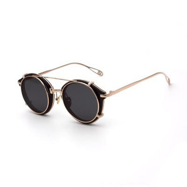Vintage Sunglasses Hip Hop Punk Style Round Design - 6 Colors