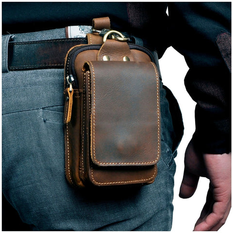 Real Leather men Small Waist Bag Phone Pouch